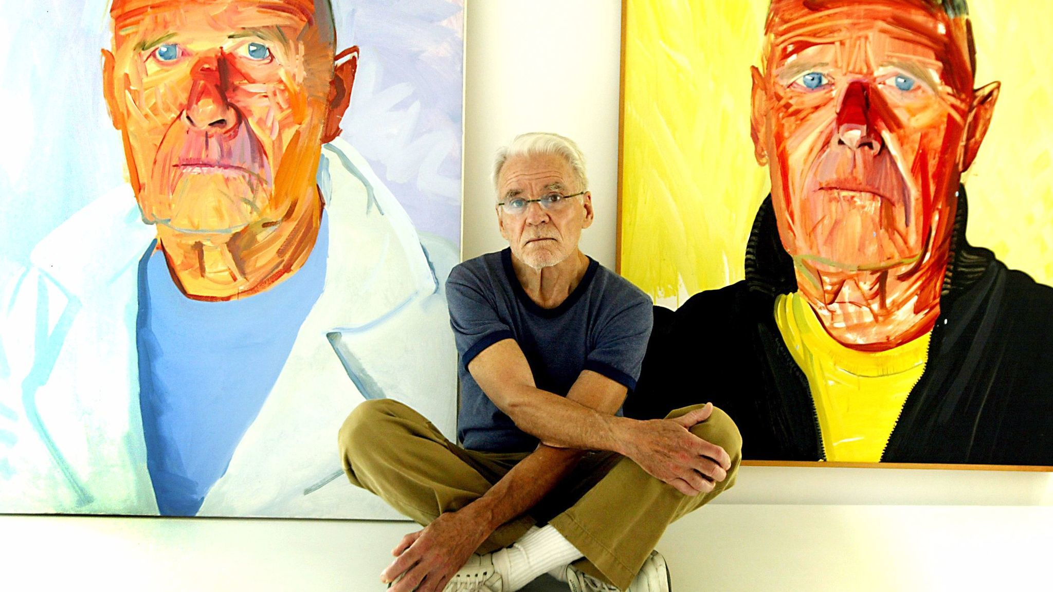 Don Bachardy in 2003 with two of his portraits of Isherwood, who died in 1986.
