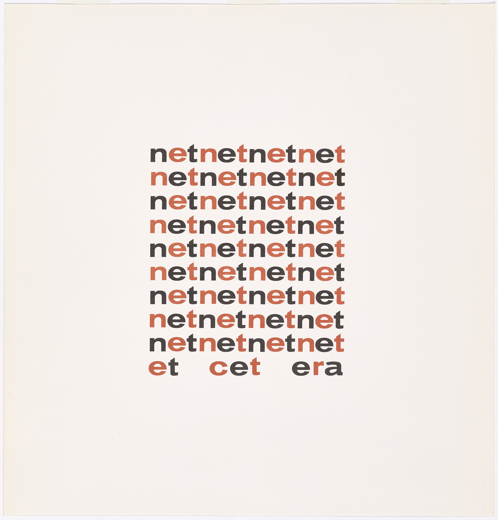 "Ian Hamilton Finlay, ""Net/Net,"" from ""The Blue and the Brown Poems"""
