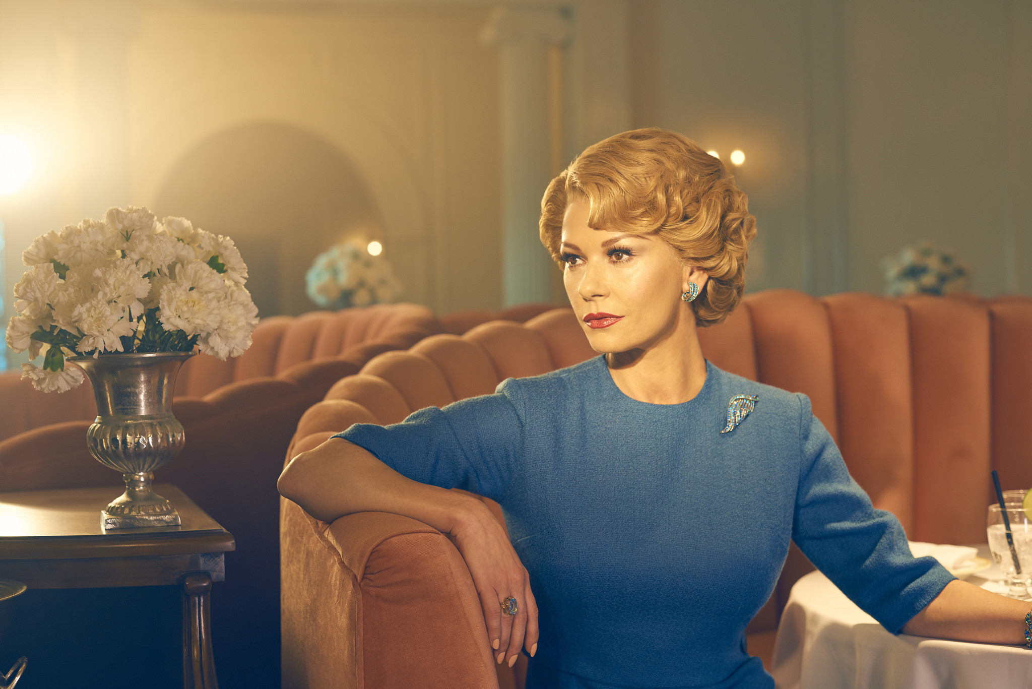 "Catherine Zeta-Jones as Olivia de Havilland in the FX miniseries ""Feud: Bette and Joan."""