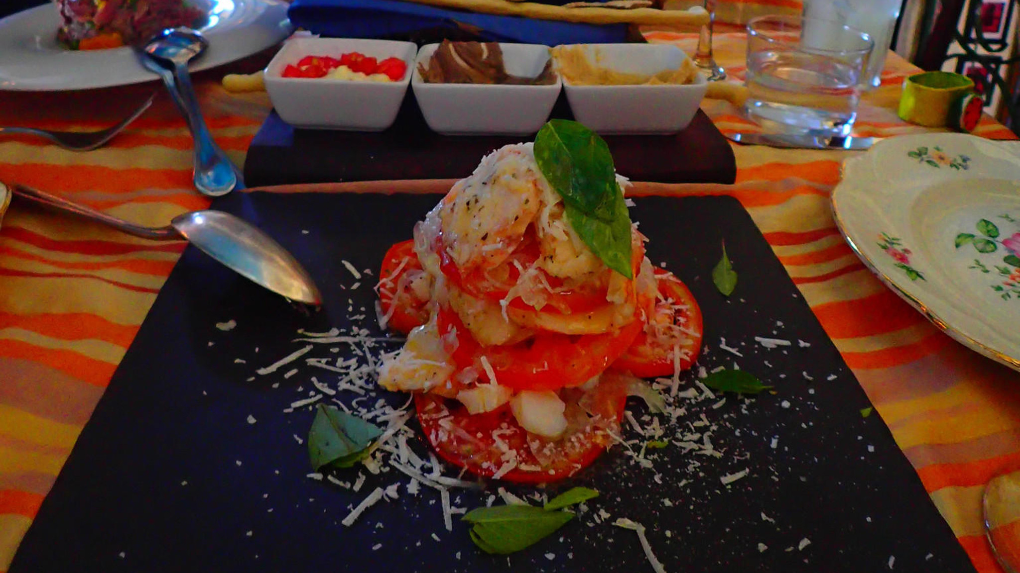A tomato and lobster salad is one of the many inventive dishes at Chef Ivan Justo.