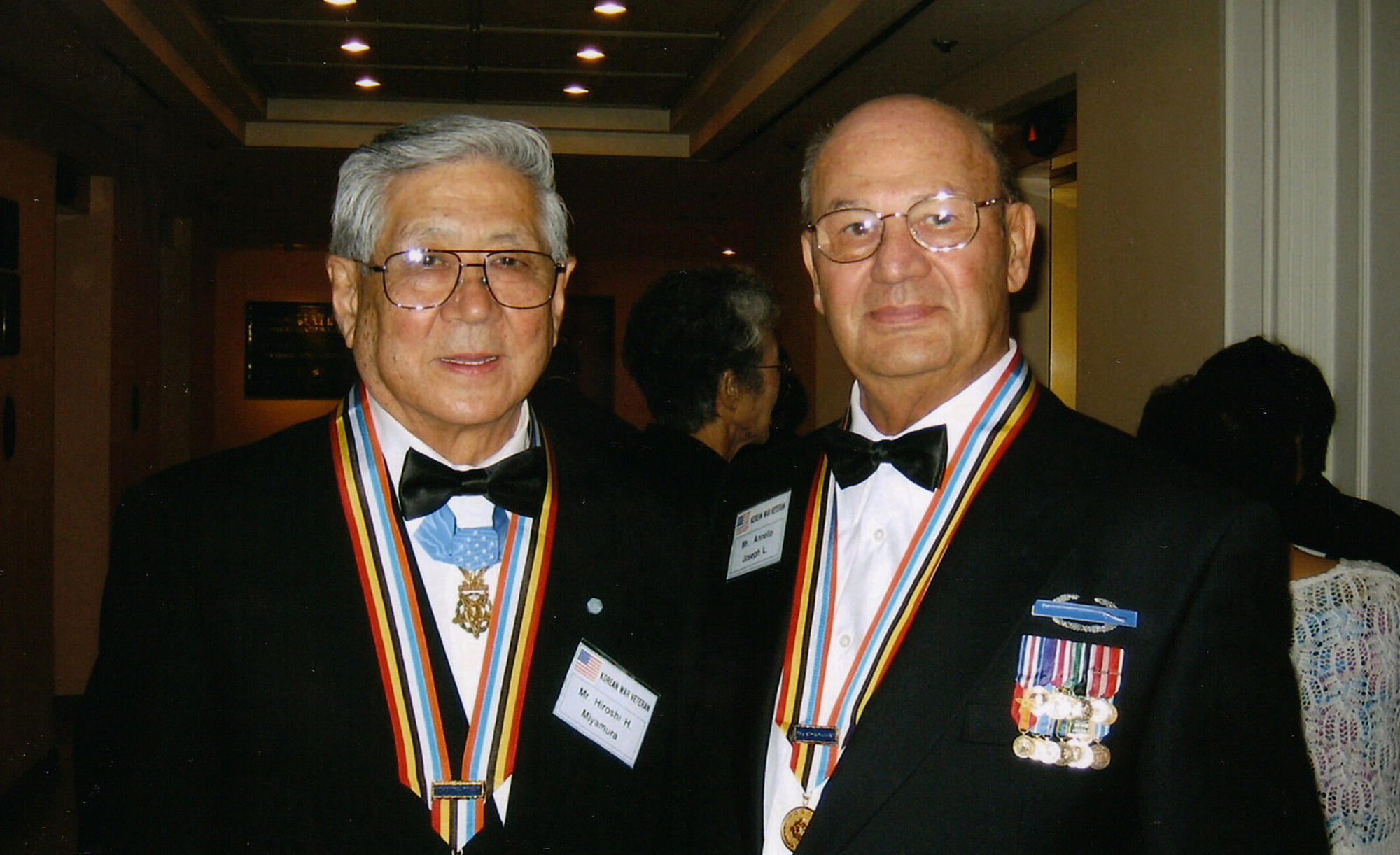 "Hiroshi ""Hershey"" Miyamura, left and Joe Annello, who both fought in the Korean War, in 2005. """"From the first day we met in that tent,"" Annello said, ""we knew we were going to become friends."""