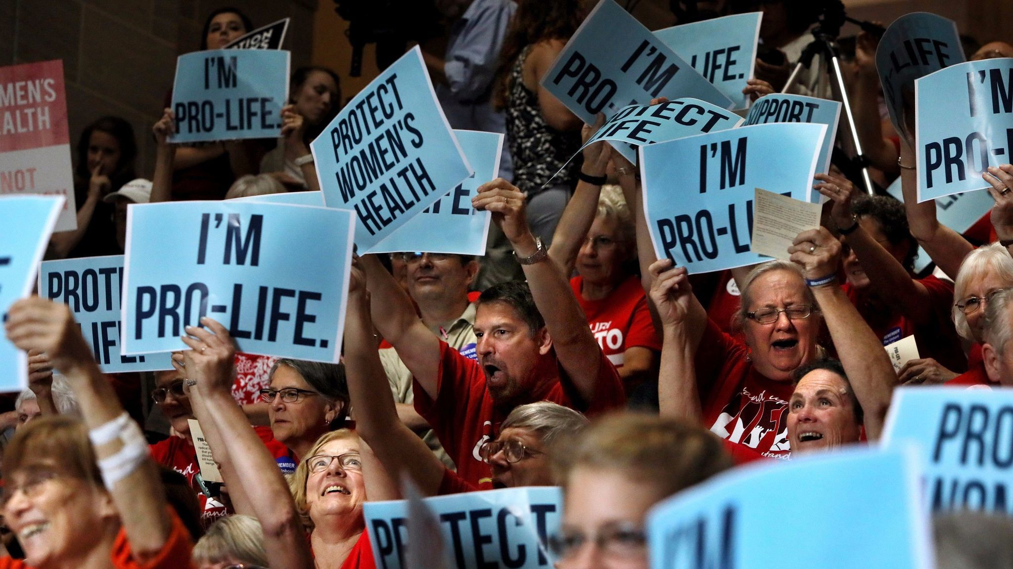 Opponents of abortion cheer during a rally in Jefferson City, Mo., on June 14.