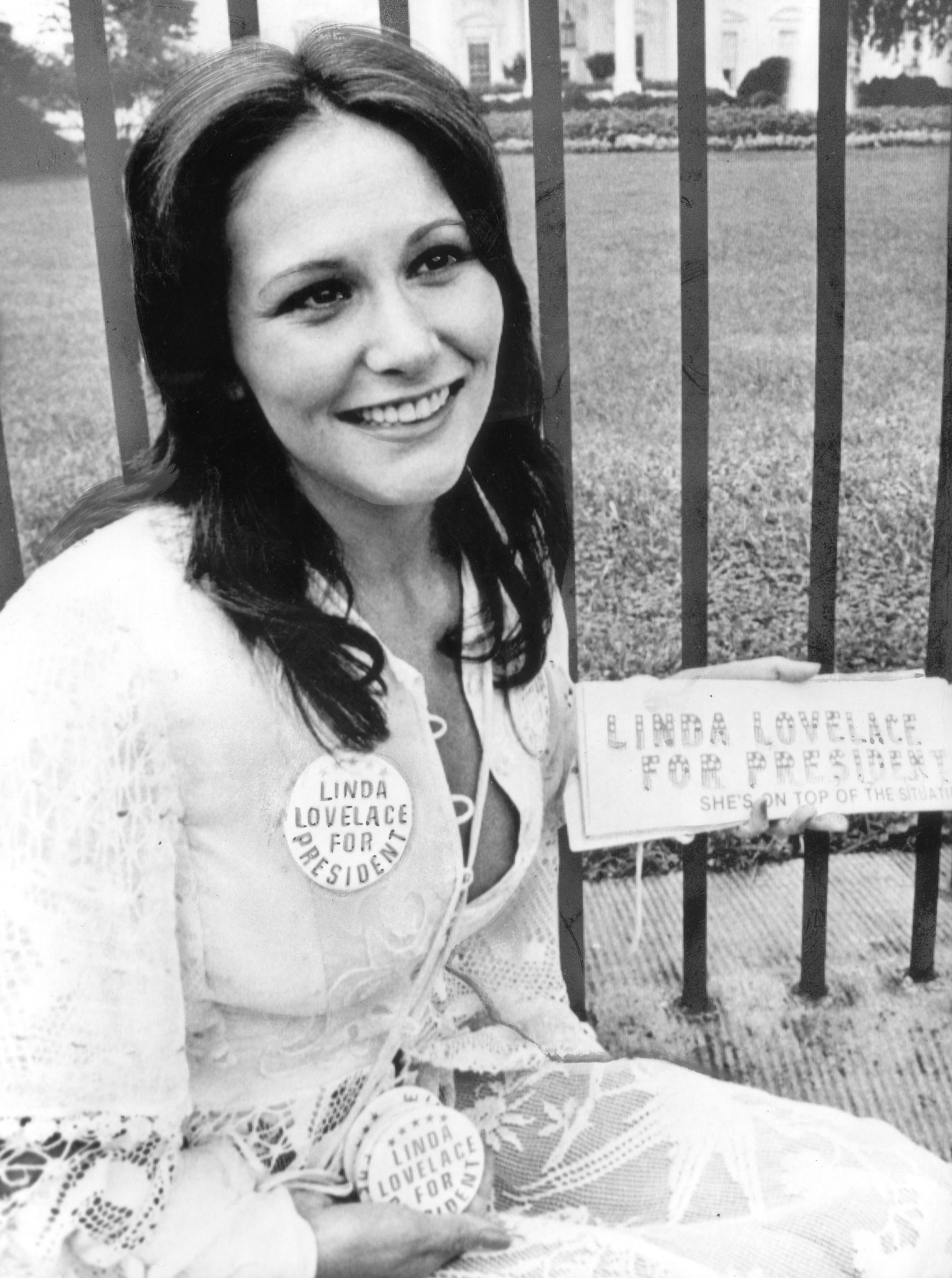 "Linda Lovelace, then 24, outside the White House in 1974 publicizing her movie ""Linda Lovelace for President."" Born Linda Boreman, Lovelace died in 2002 from injuries sustained a car accident."