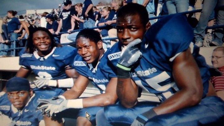 De'Von Hall, far right, had 253 tackles, four interceptions — including a pick-six — and two sacks in four years with Utah State from 2005-2008.