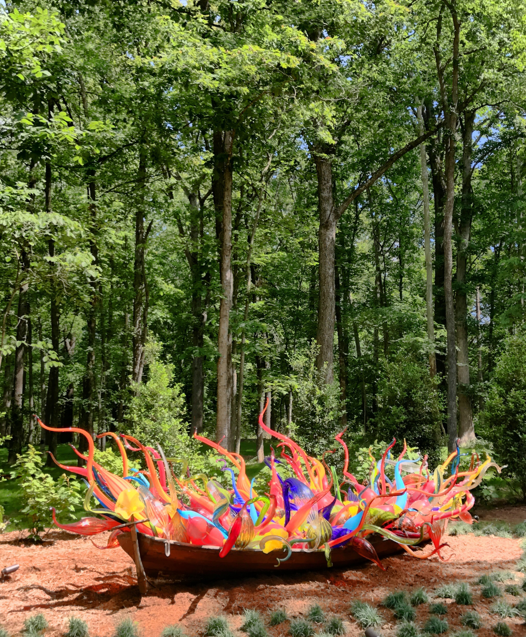 """Dale Chihuly's old wooden rowboat is filled with glass-blown forms to create """"Fiori Boat,"""" part of the Chihuly in the Forest outdoor exhibition at Crystal Bridges Museum of American Art."""