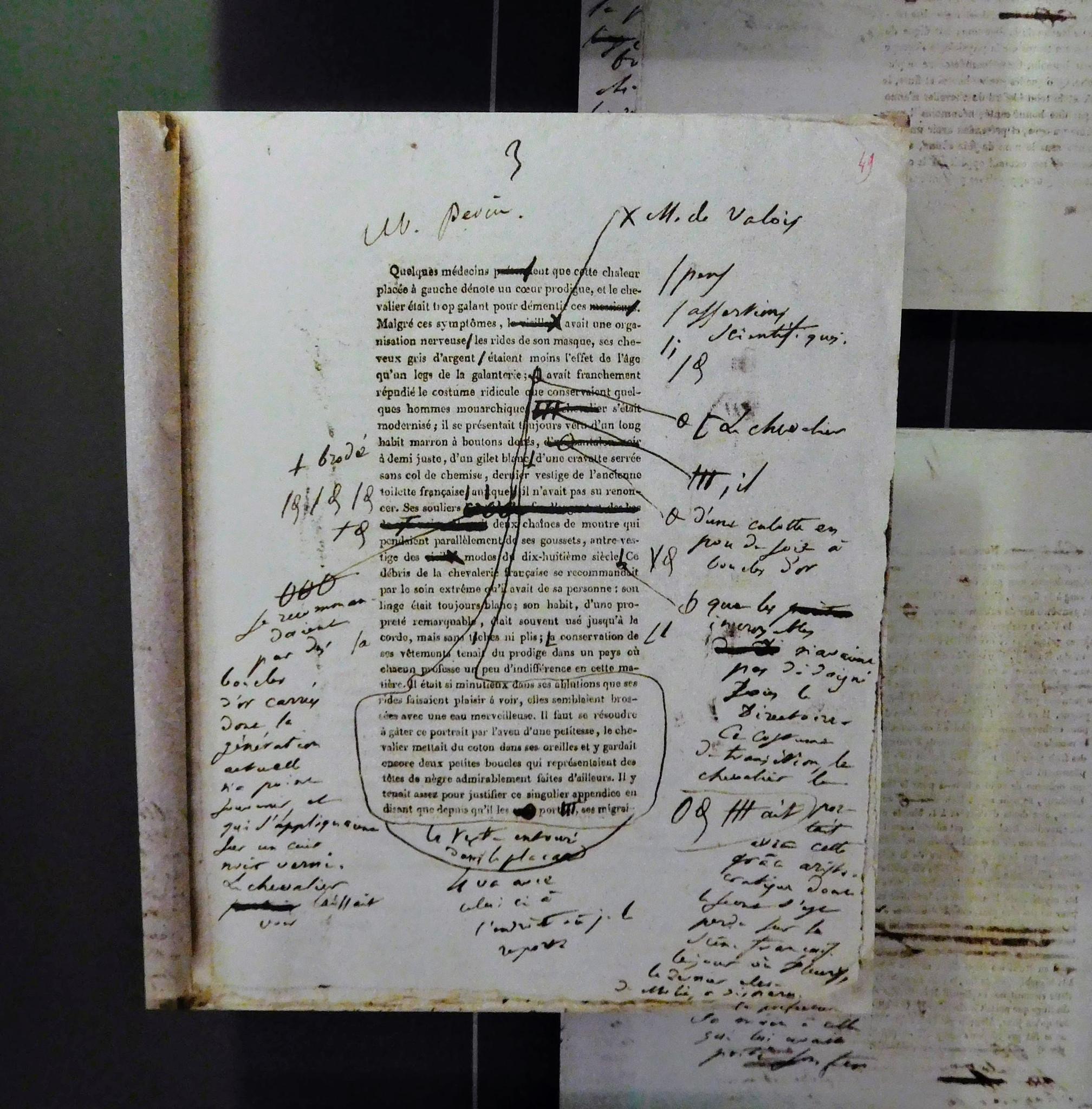 An edited manuscript by Balzac at the Maison Balzac.