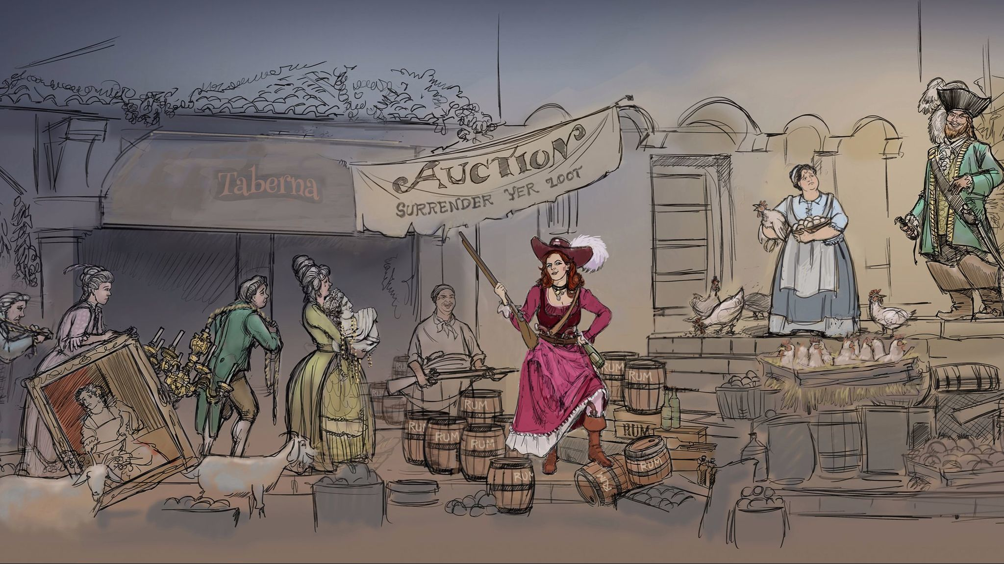 An artist's rendering of the scene that will replace the bride auction on Pirates of the Caribbean at Disneyland.
