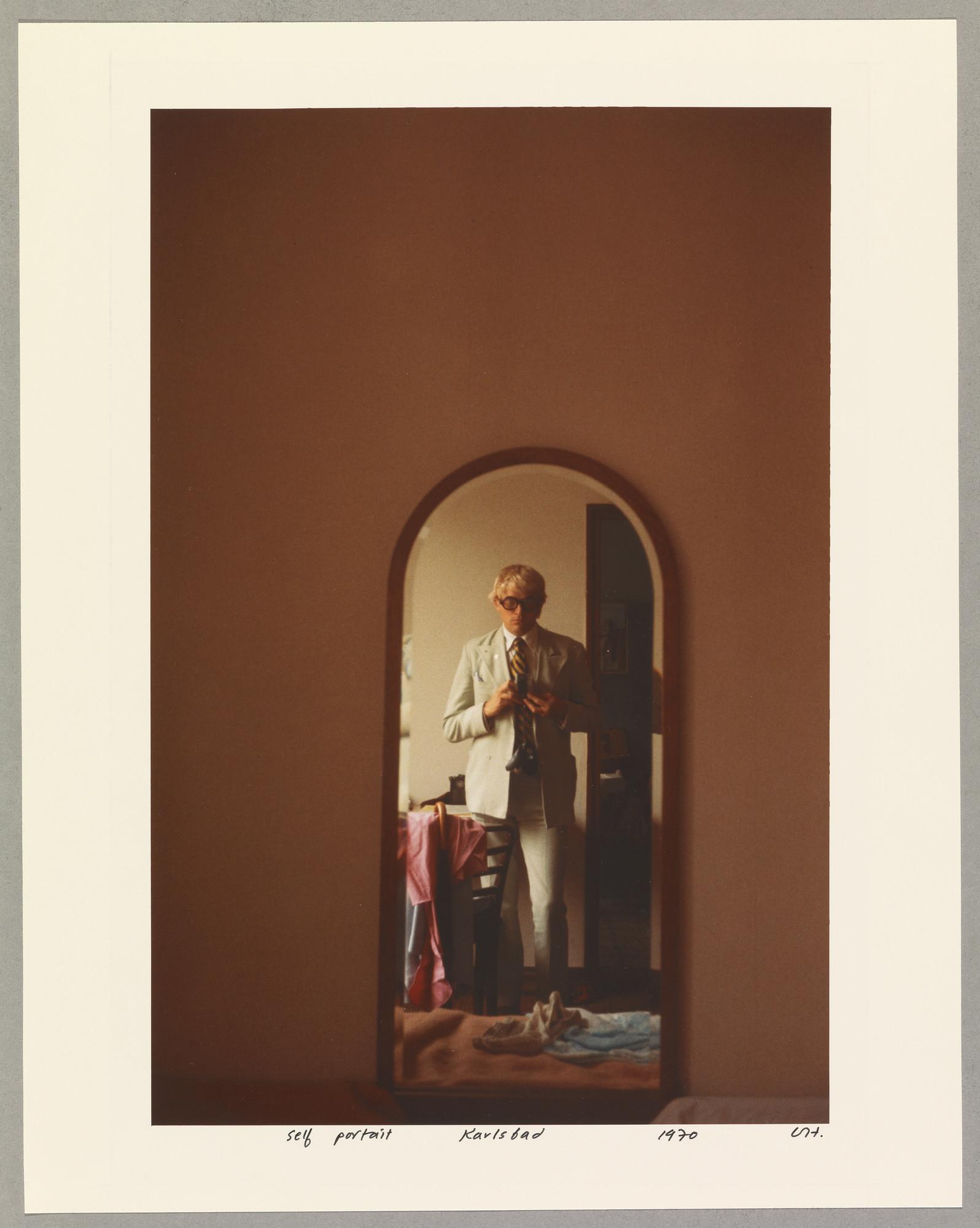 """David Hockney, """"Self Portrait. Karlsbad 1970,"""" chromogenic print, 14 inches by 11.25 inches"""