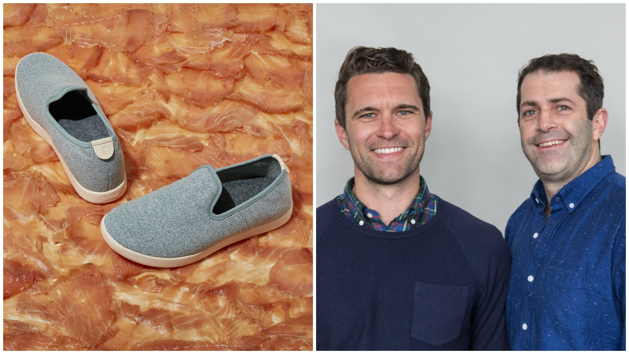 Allbirds and the Wexler's Deli wool Lounger with pink sole, $95; and Tim Brown, left, with Joey Zwillinger, business partners of San Francisco footwear company Allbirds.
