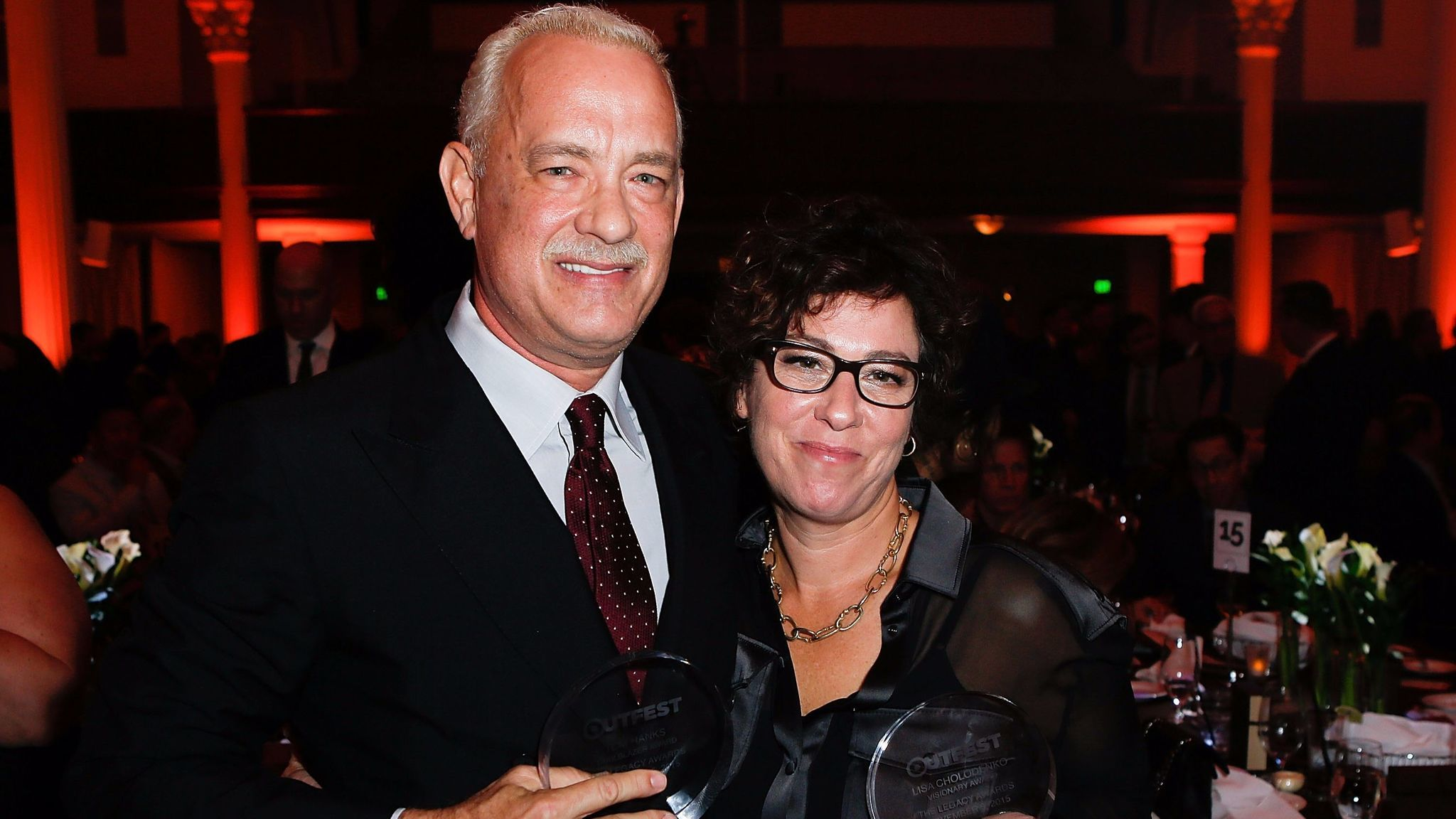 Award recipients Tom Hanks and Lisa Cholodenko at the 2015 Outfest Legacy Awards.