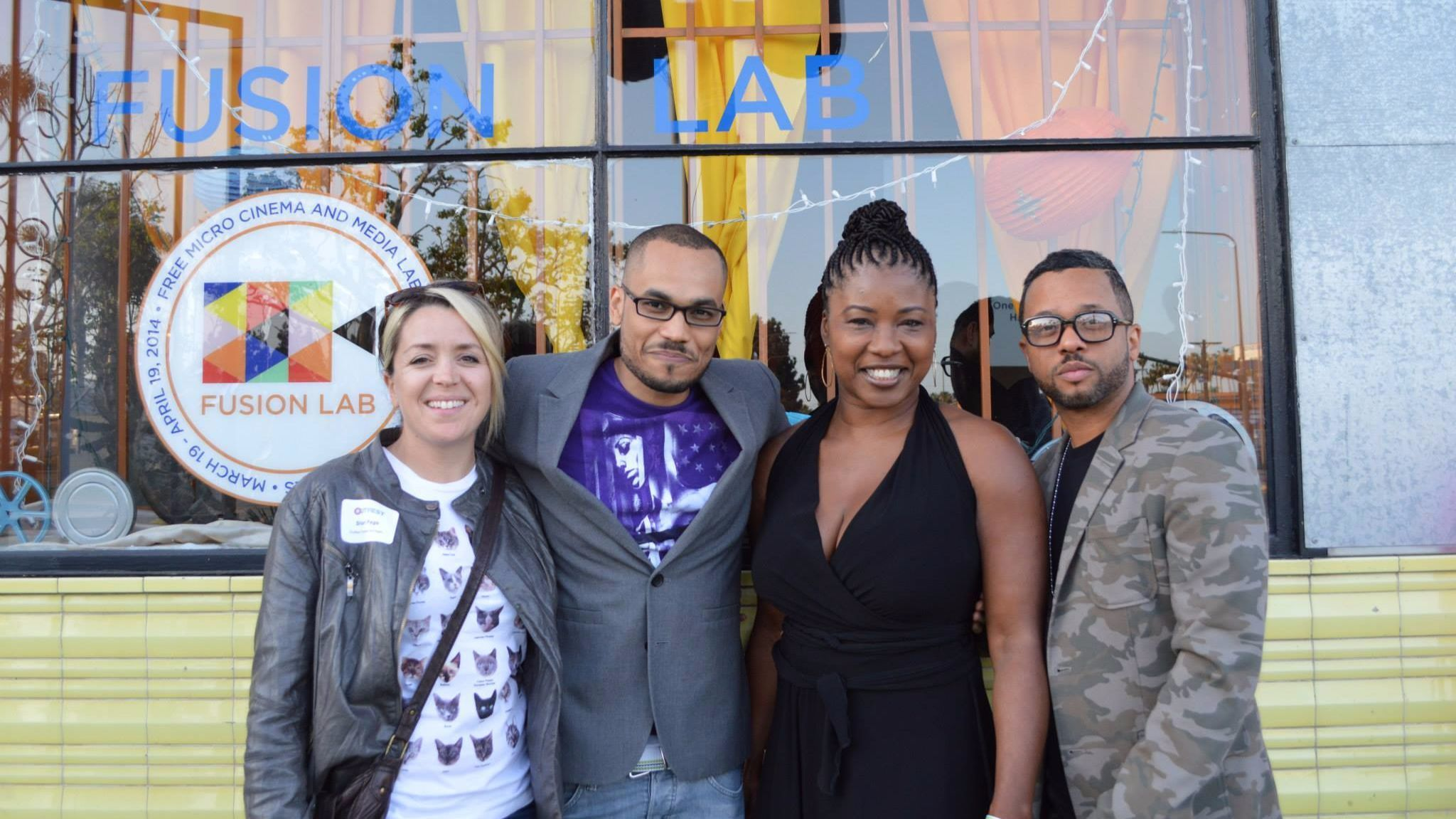 Shari Page, left, Deondray Gossfield, Tajamika Paxton and Quincy Gossfield help launch Outfest Fusion Labs at Kaos in Leimert Park.