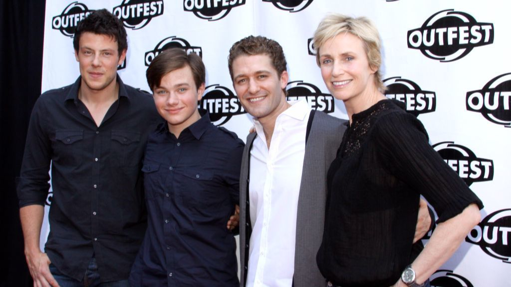 """Cory Monteith, left, Chris Colfer, Matthew Morrison and Jane Lynch of """"Glee"""" at Outfest in 2010."""