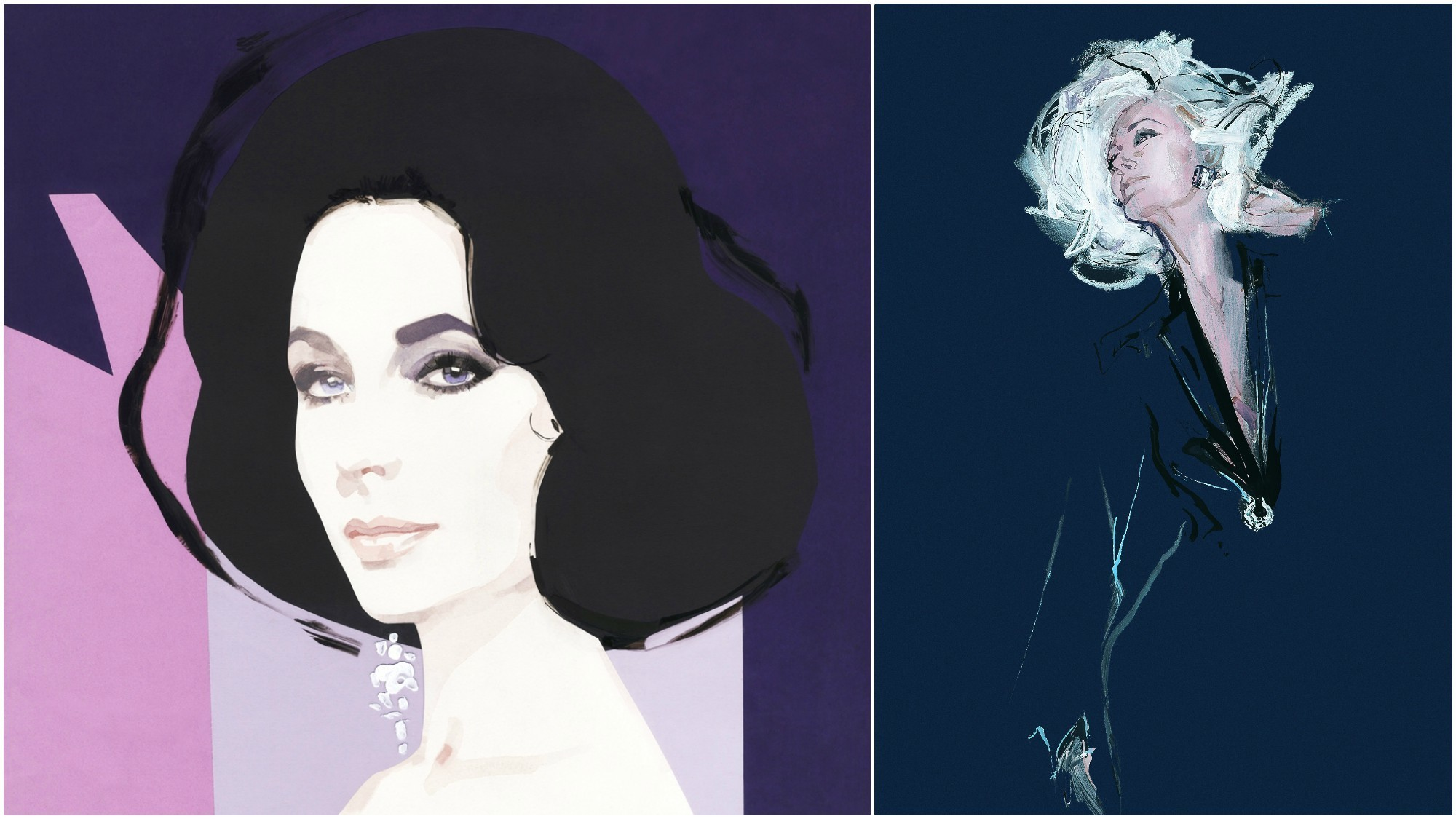 Renderings of Elizabeth Taylor and Carmen Dell'Orefice by fashion illustrator and celebrity portrait artist David Downton.
