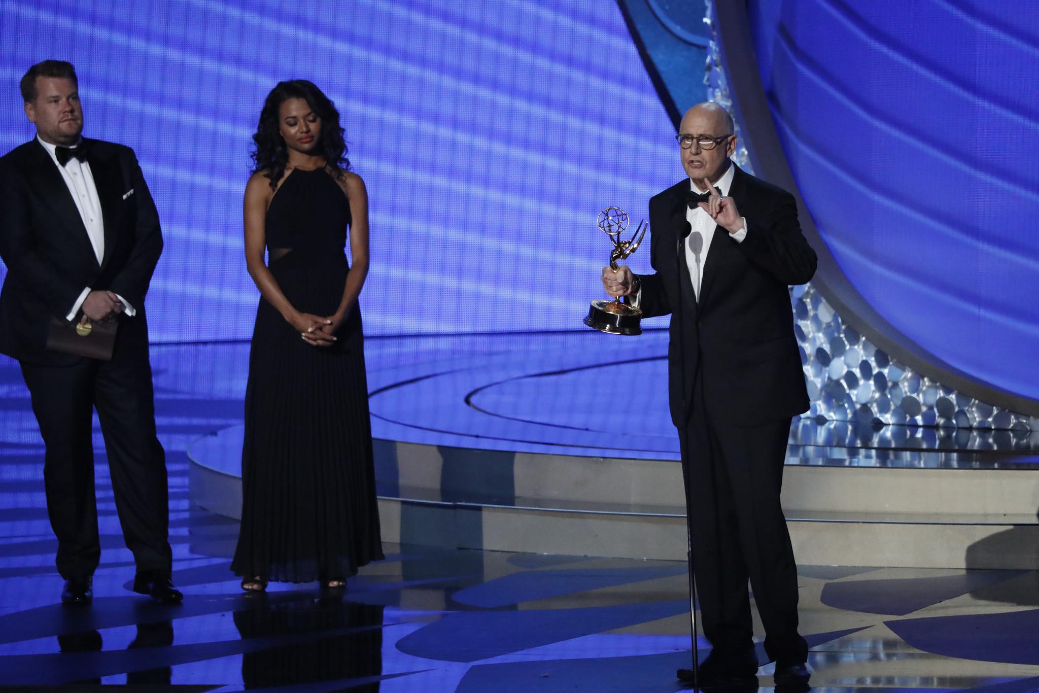 Jeffrey Tambor giving his Emmy acceptance speech in 2016.