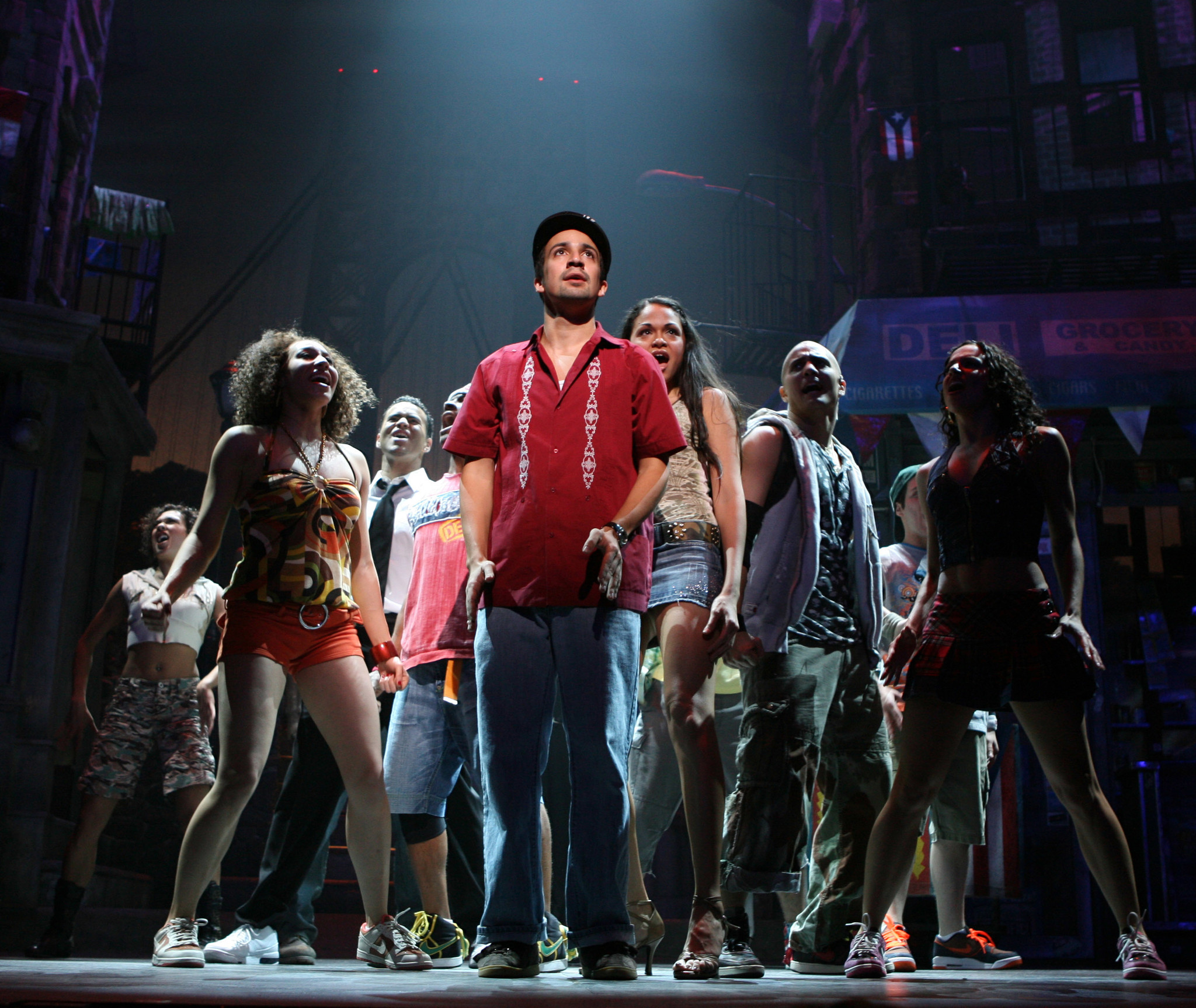 "Lin–Manuel Miranda in 2008 with the company of ""In the Heights."" Could a white actor star in the musical in 2017?"