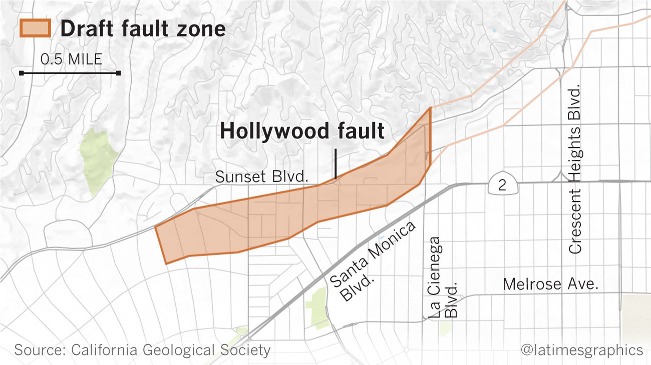 Draft earthquake fault zone. The area to the east of the shaded area has been previously mapped.