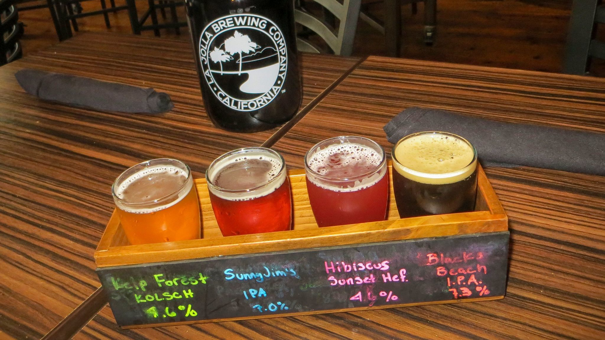 Tasters at La Jolla Brewing Co., which also serves food, wine and mixed drinks.
