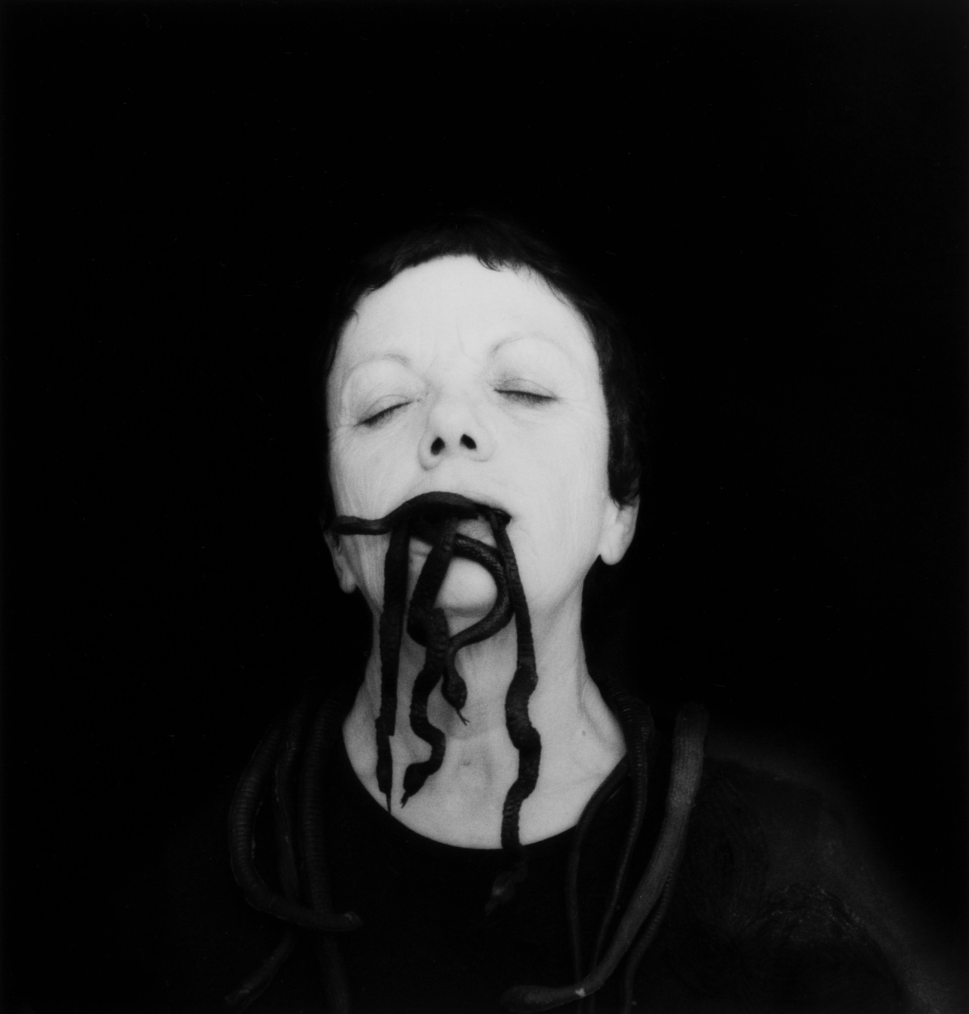 "Graciela Iturbide's ""Self-Portrait With Snakes, Oaxaca, Mexico,"" 2006, from the artist's upcoming exhibition at Scripps College."