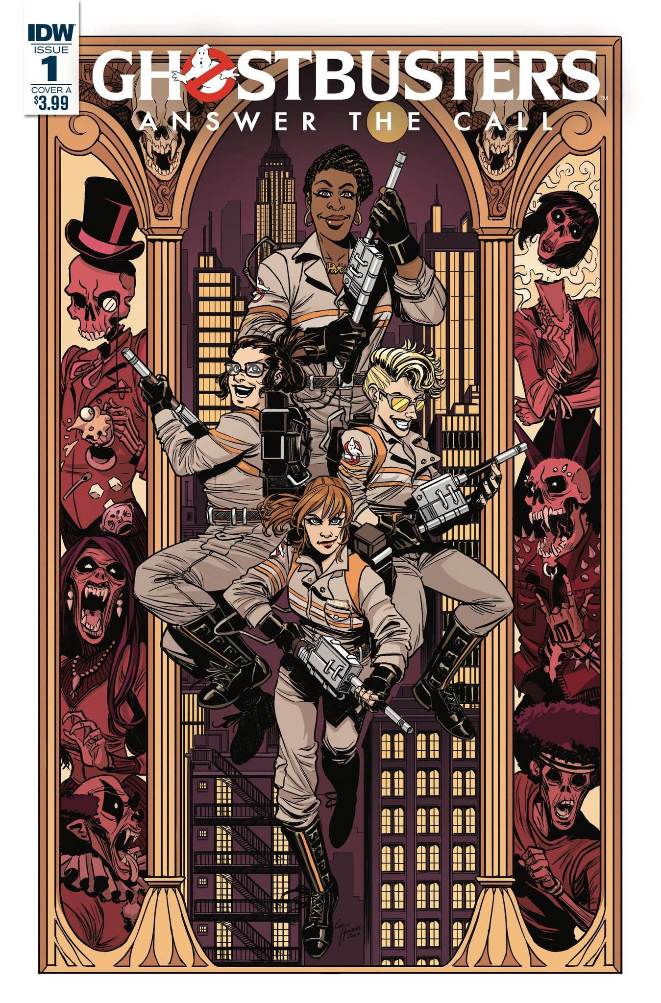 """The cover for """"Ghostbusters: Answer the Call"""" No. 1 by artist Corin Howell with colorist Luis Antonio Delgado."""