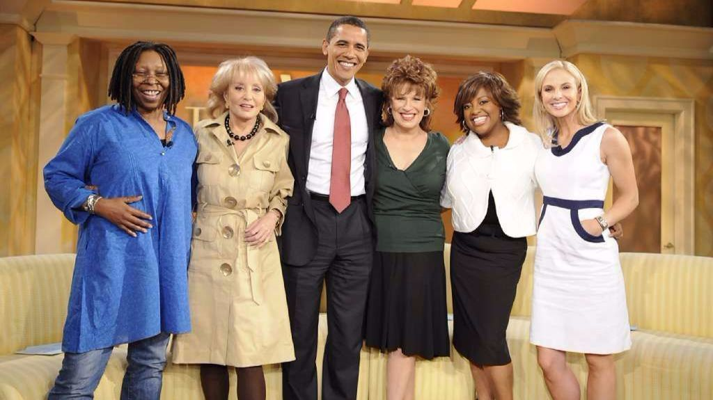 "Sherri Shepherd, second from right, with her co-hosts on ""The View"" and then-presidential candidate Barack Obama."