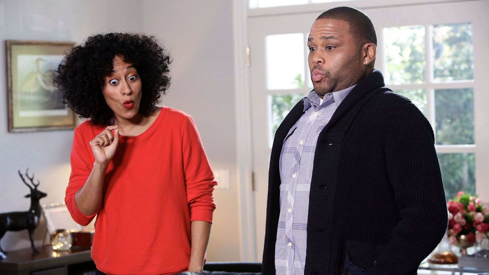 """Tracee Ellis Ross and Anthony Anderson appear in a scene from """"black-ish."""""""