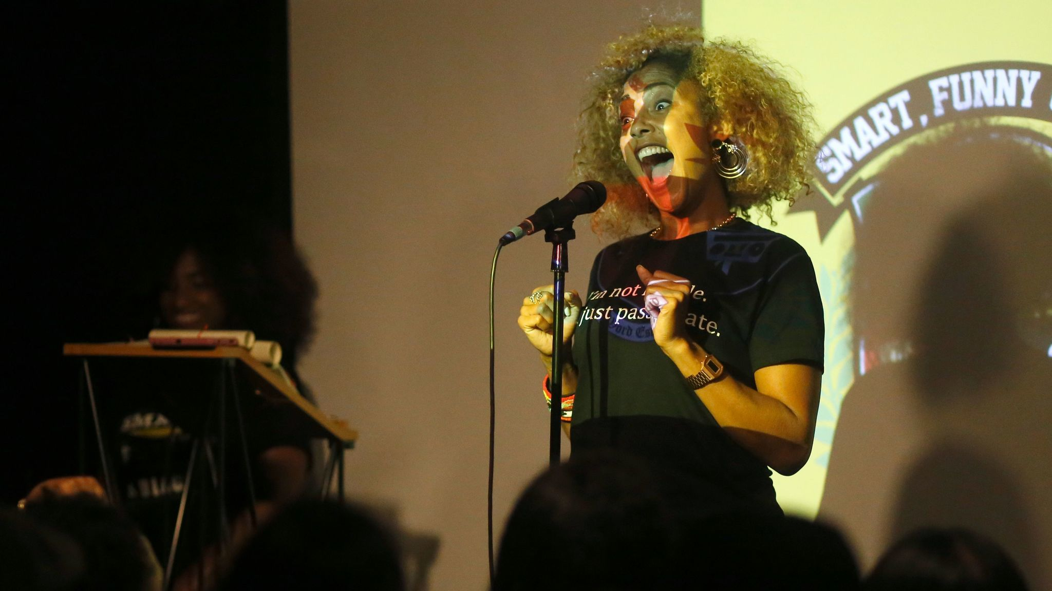 Amanda Seales hosting a comedy game show at the Nerdist Showroom on July 10, 2017.