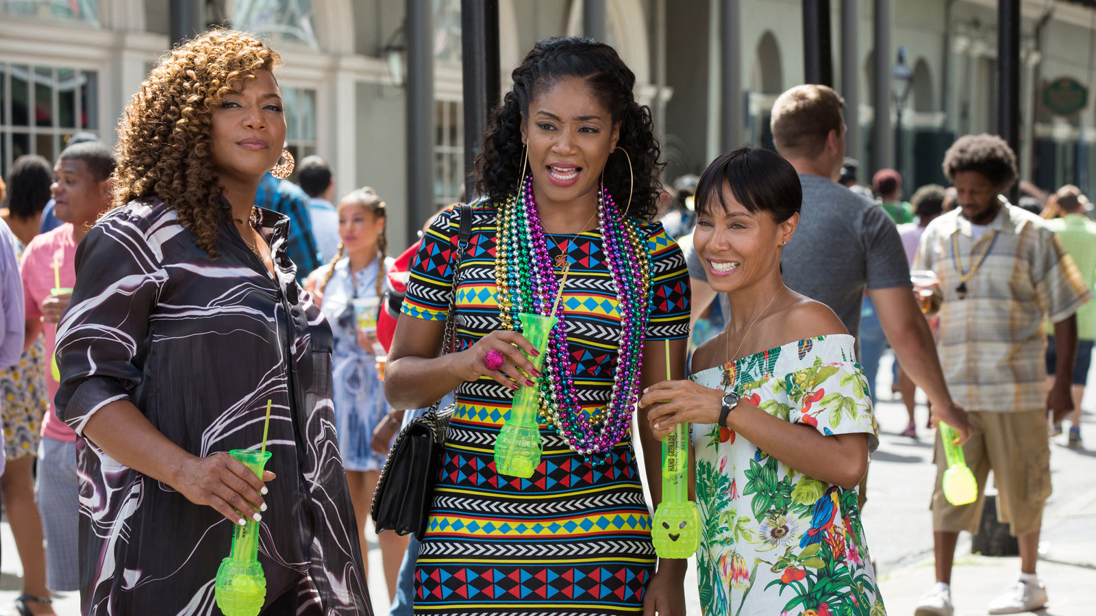 "Tiffany Haddish, center, with Queen Latifah, left, and Jada Pinkett Smith, in the film ""Girls Trip."""