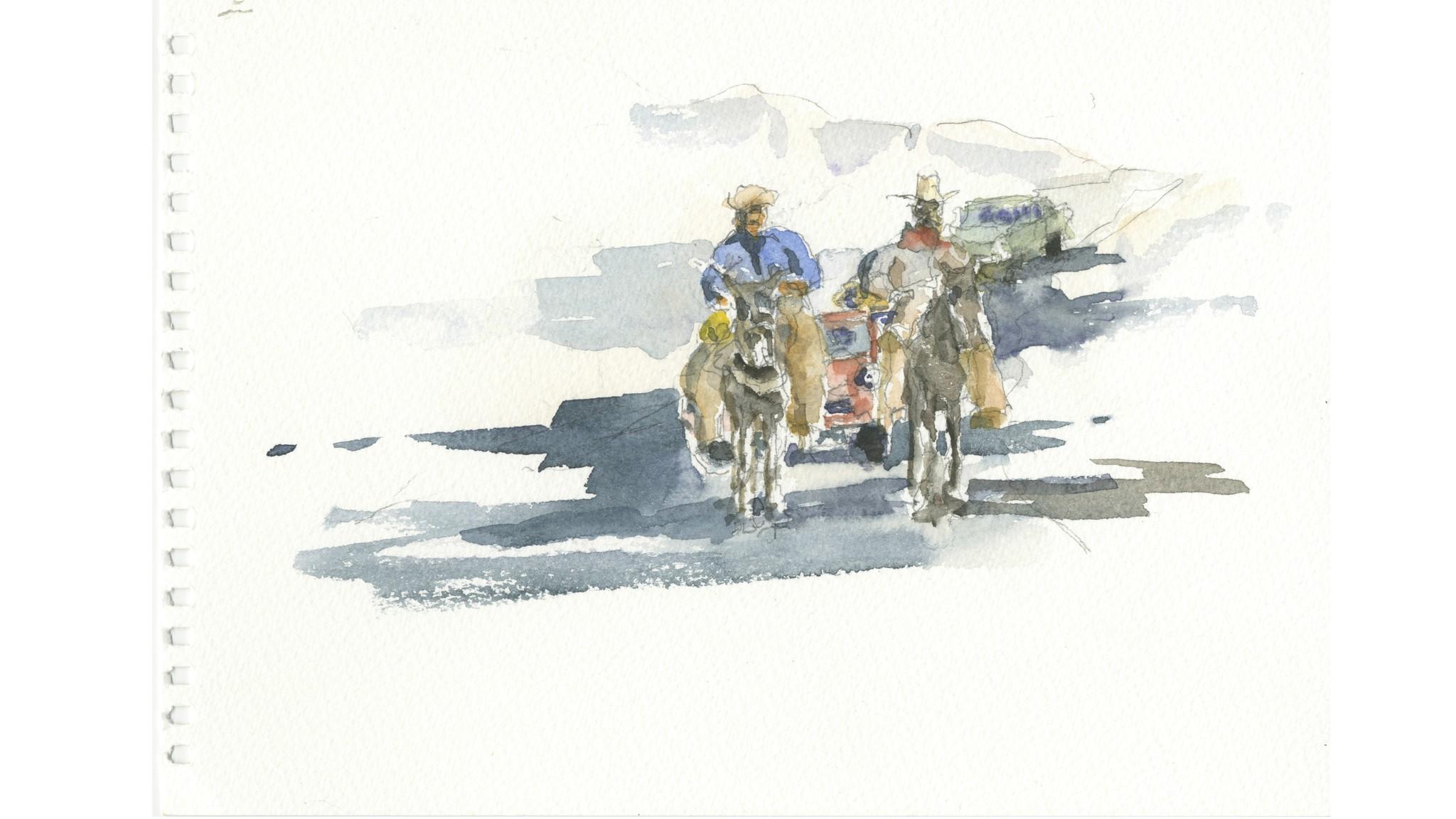 Pilgrims on horseback and in SUVs.