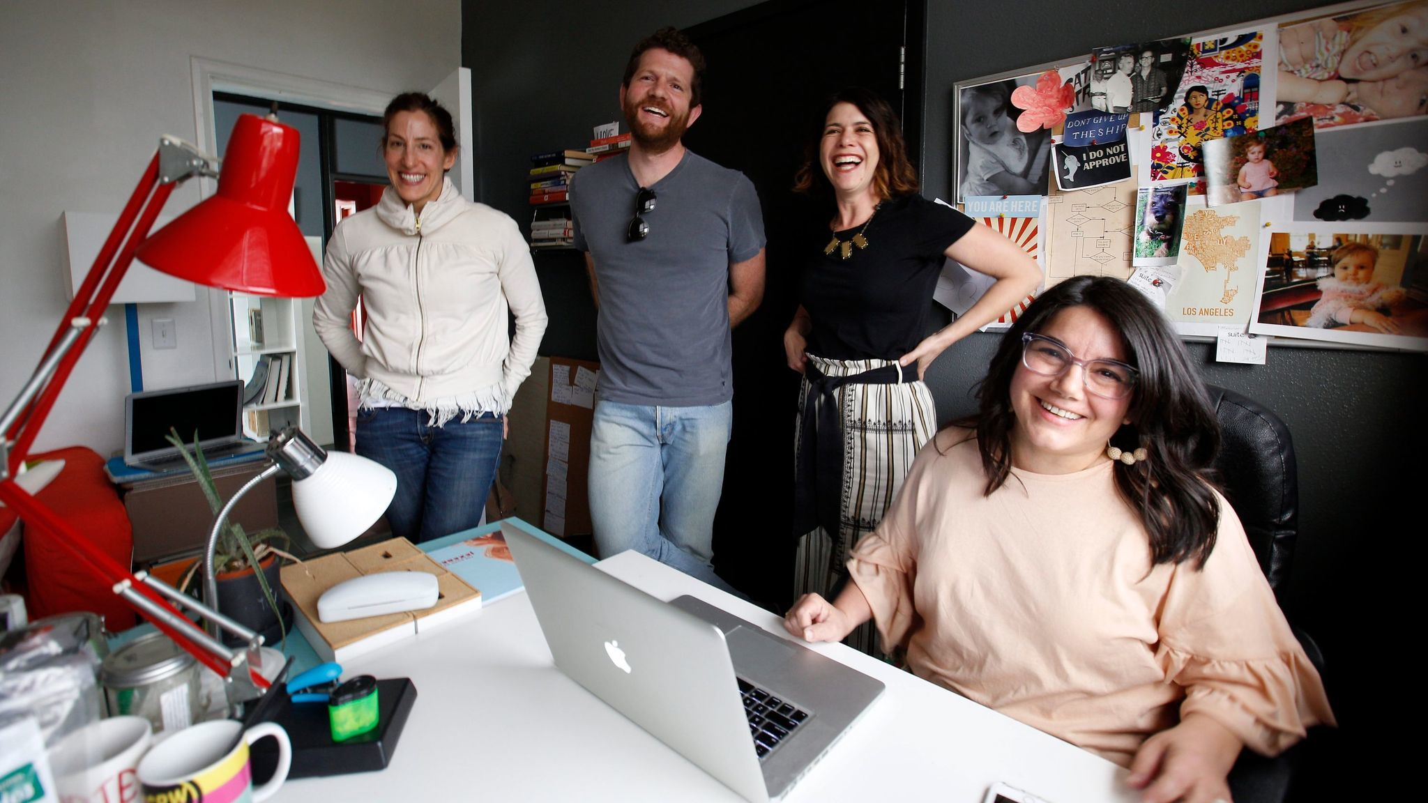Janelle Brown, second from right, shares the Silver Lake writing space Suite 8 with, from left, Erica Rothschild, Joshua Seumer and Carina Chocano.