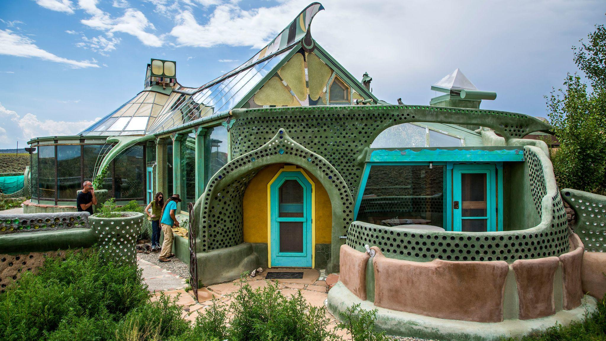 Phoenix Earthship at the Greater World Community outside Taos, New Mexico.