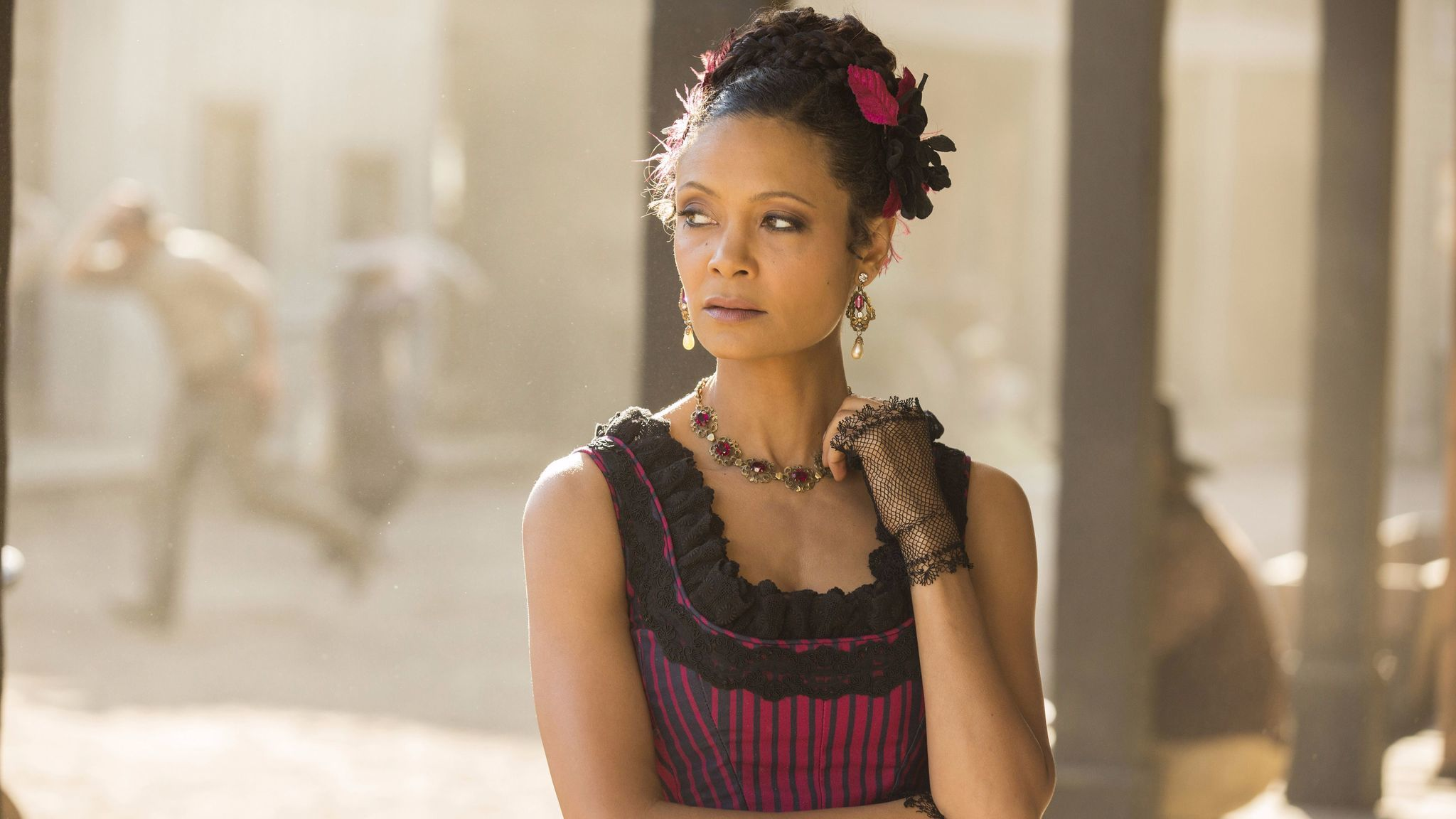 "Thandie Newton in a scene from ""Westworld."""