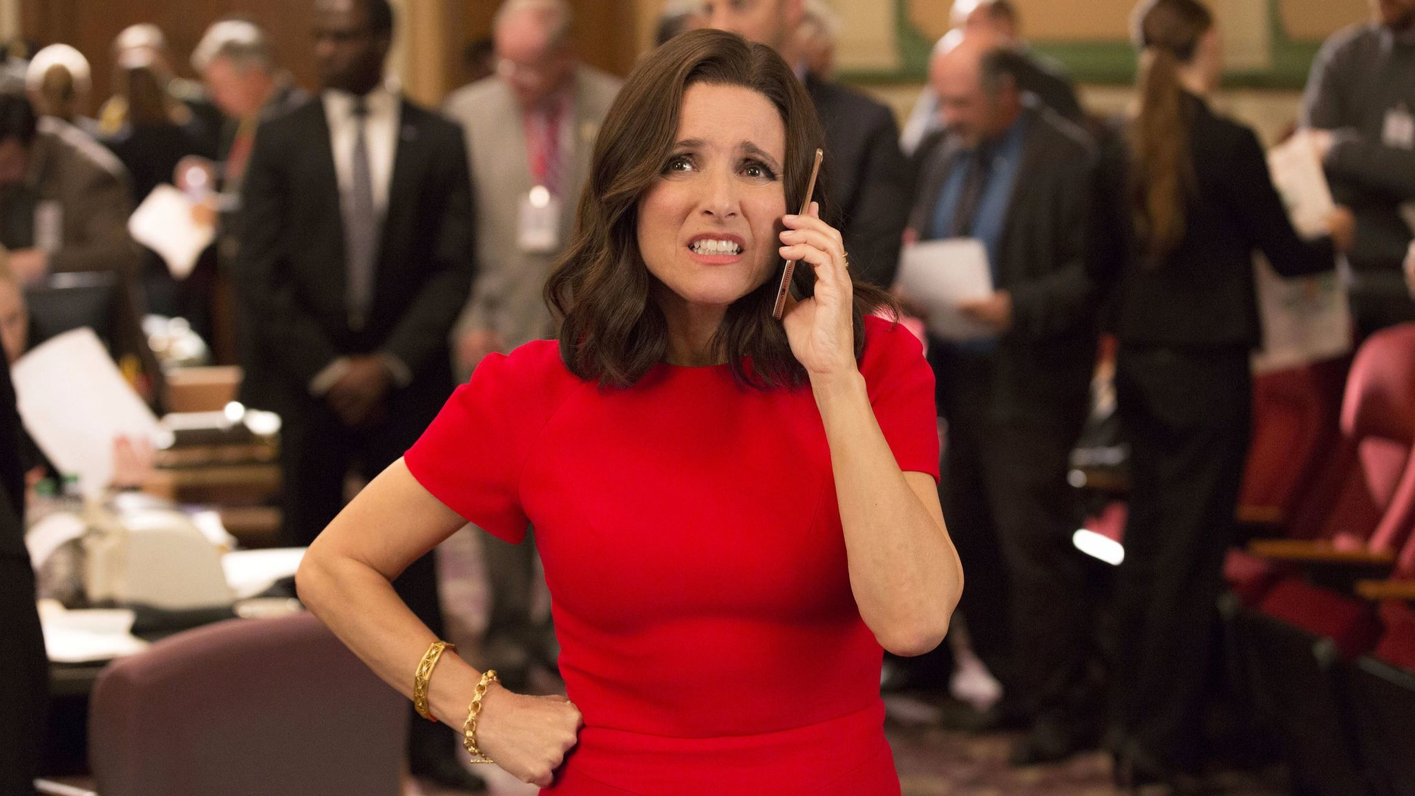 "Julia Louis-Dreyfus in a scene from ""Veep."""
