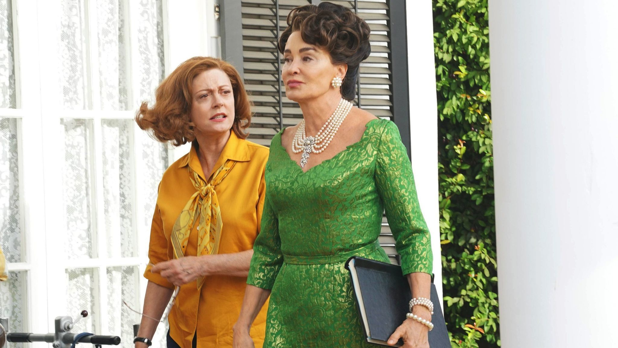 "Susan Sarandon, left, as Bette Davis and Jessica Lange as Joan Crawford on ""Feud."""