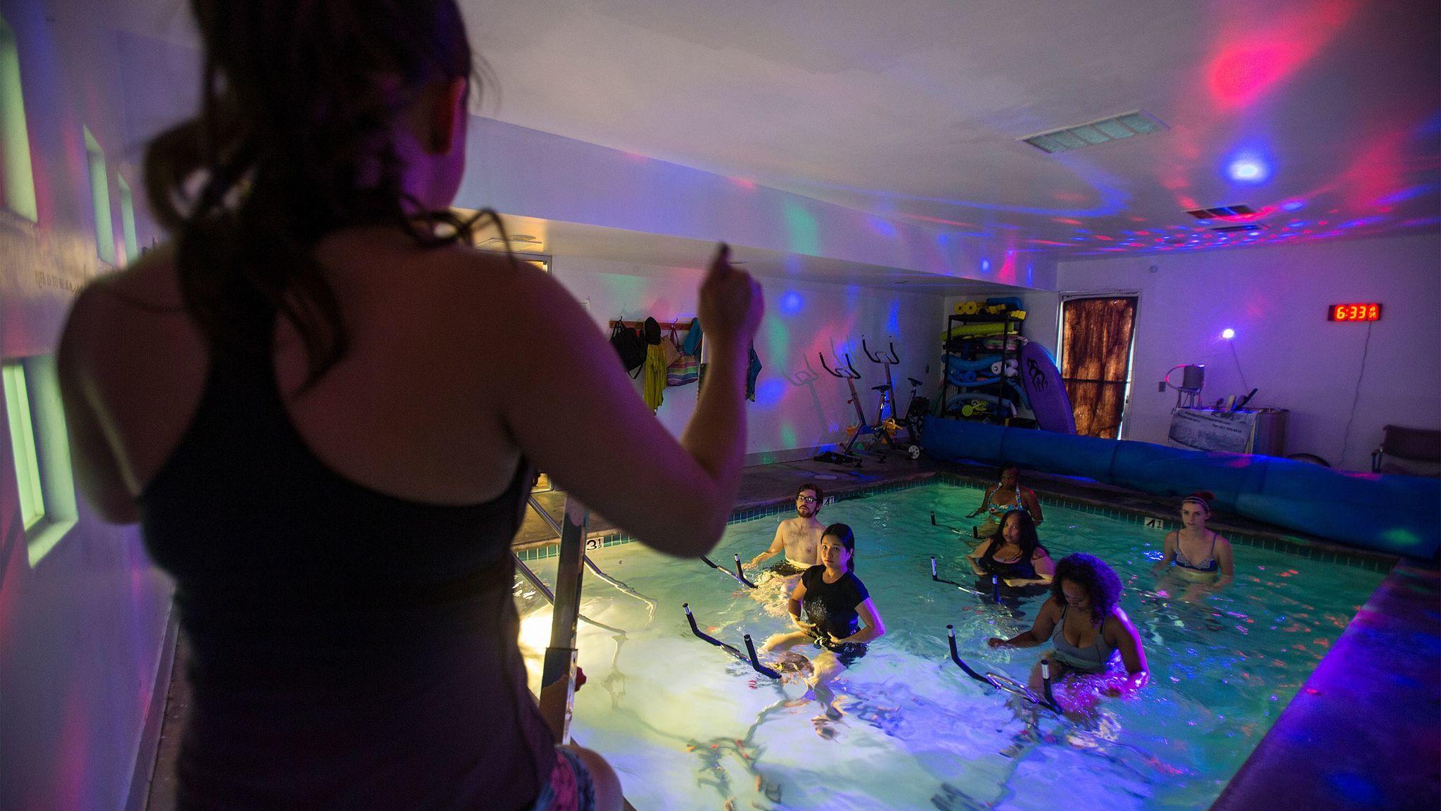 Aqua cycling class at Motion Plus Aquatic & Therapy Center.