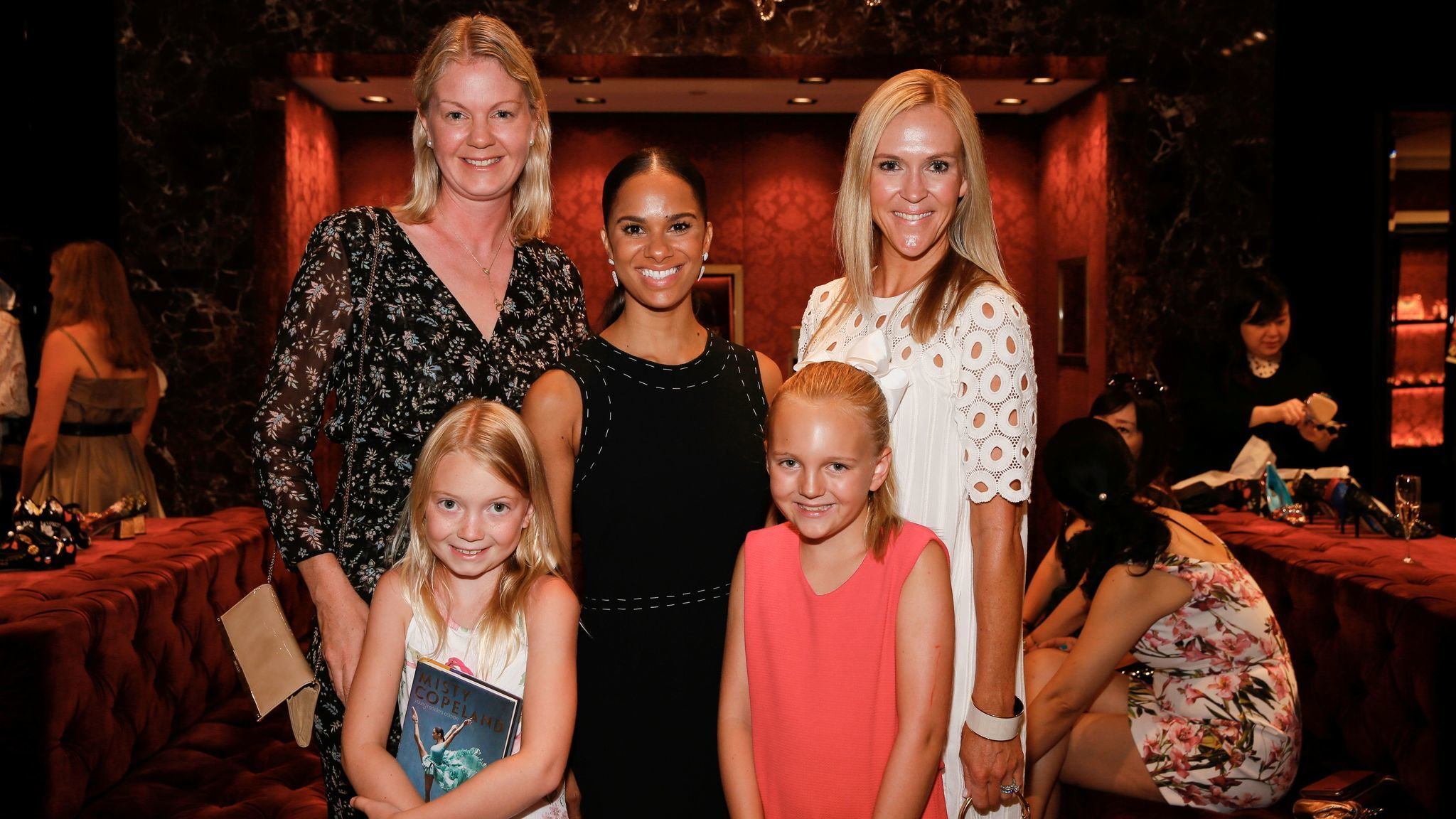 From left, Nicole Joseph, Ava Joseph, ballerina Misty Copeland, Bridget Flanagan and Christy Flanagan.