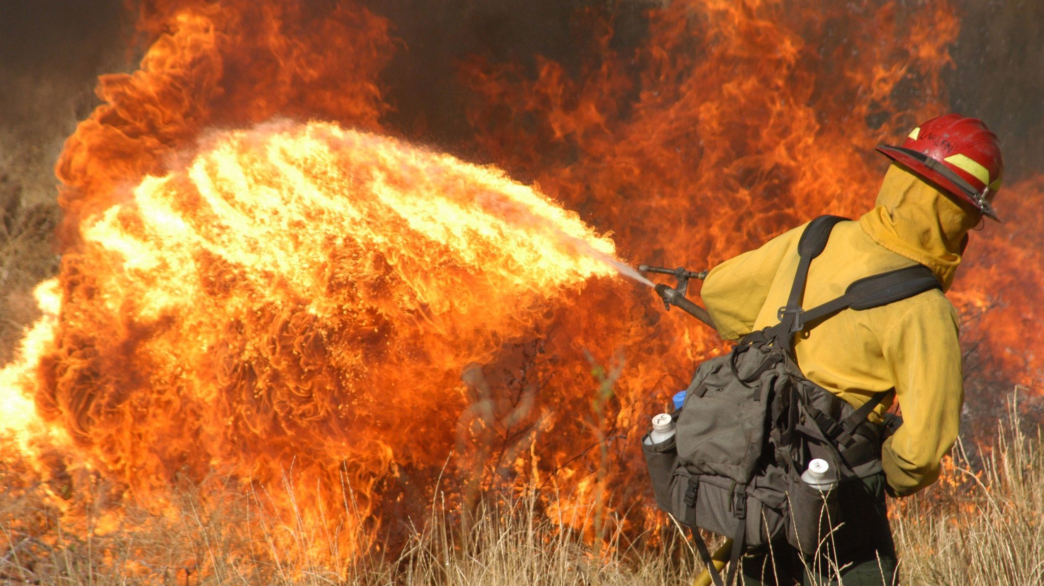 Jamie Larsen uses a fire wand during a prescribed burn in the North Fork Corridor of the Shoshone National Forest in Wyoming on  Oct. 14, 2005.