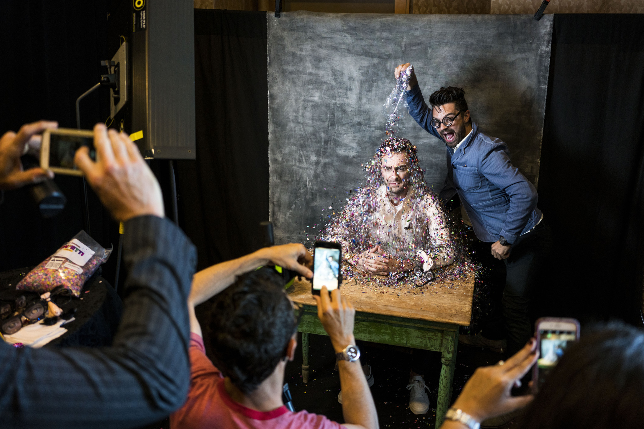 "Actors Joseph Gilgun and Dominic Cooper from the television series ""Preacher"" get into the moment."