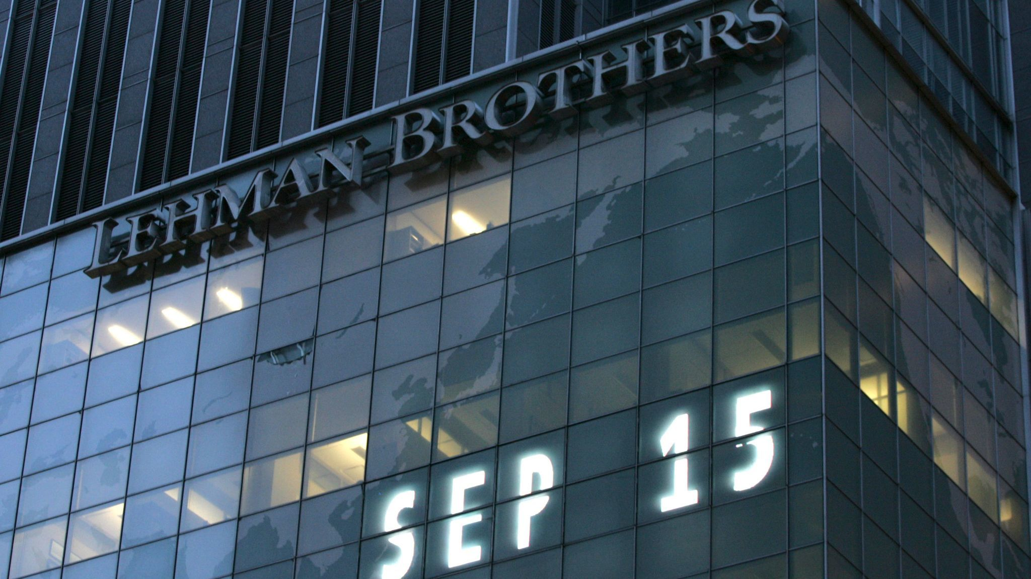 Lehman Bros.' world headquarters in New York in 2008.