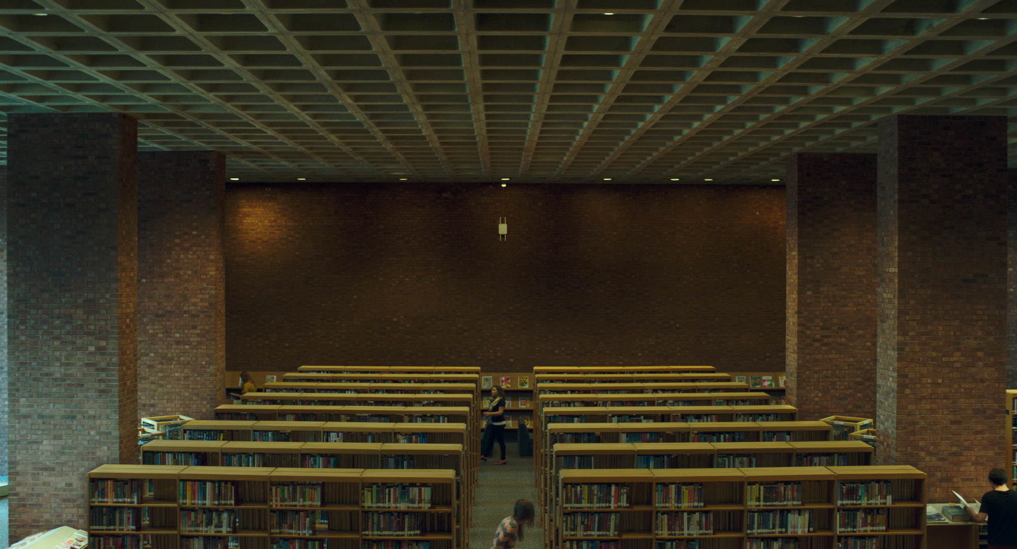 The interior of I.M. Pei's Cleo Rogers Memorial Library, which plays a significant role in