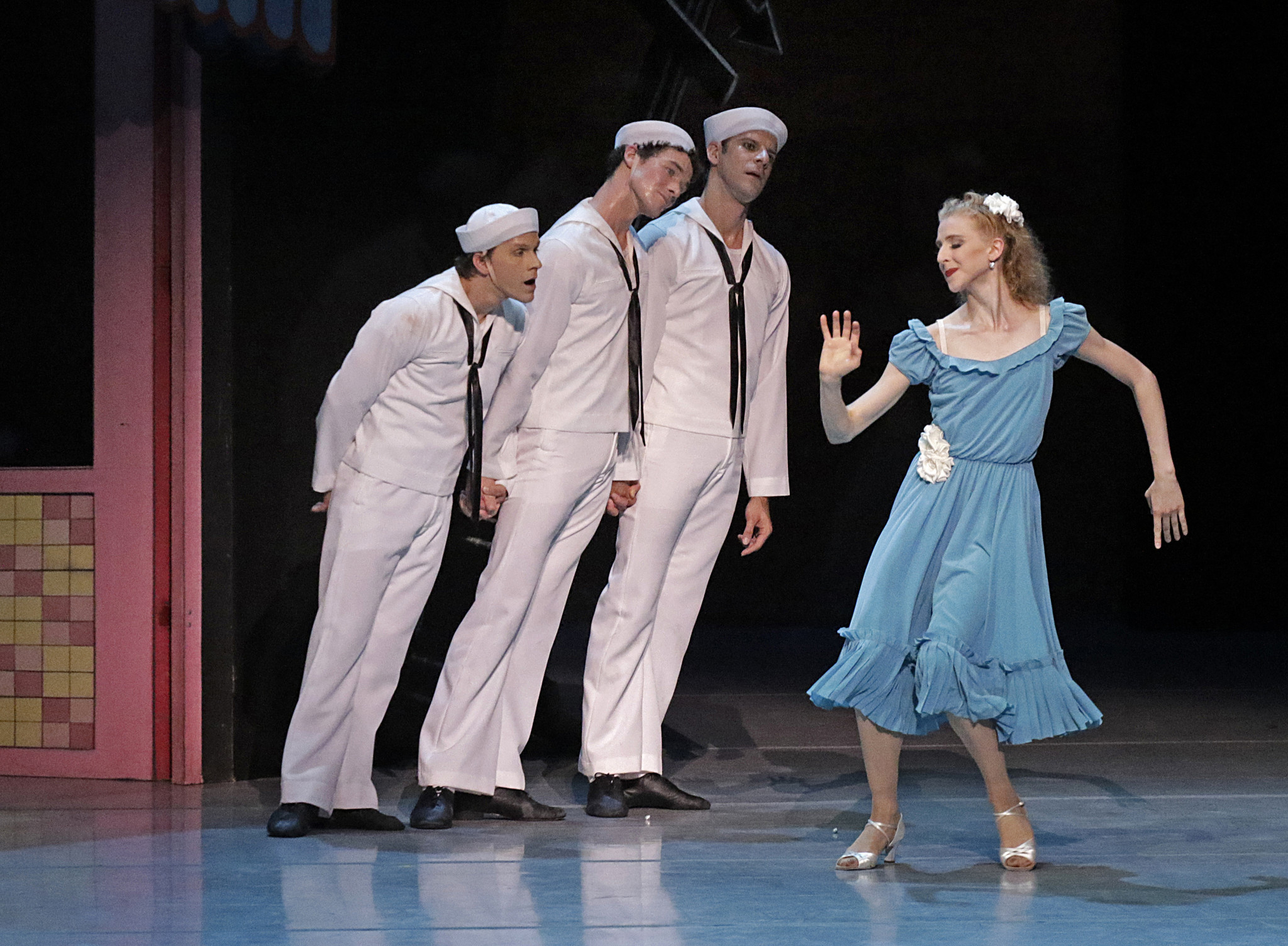 Daniel Ulbricht, left, Cory Stearns and Marcelo Gomes lean in toward Claire Kretzschmar during Jerome Robbins'