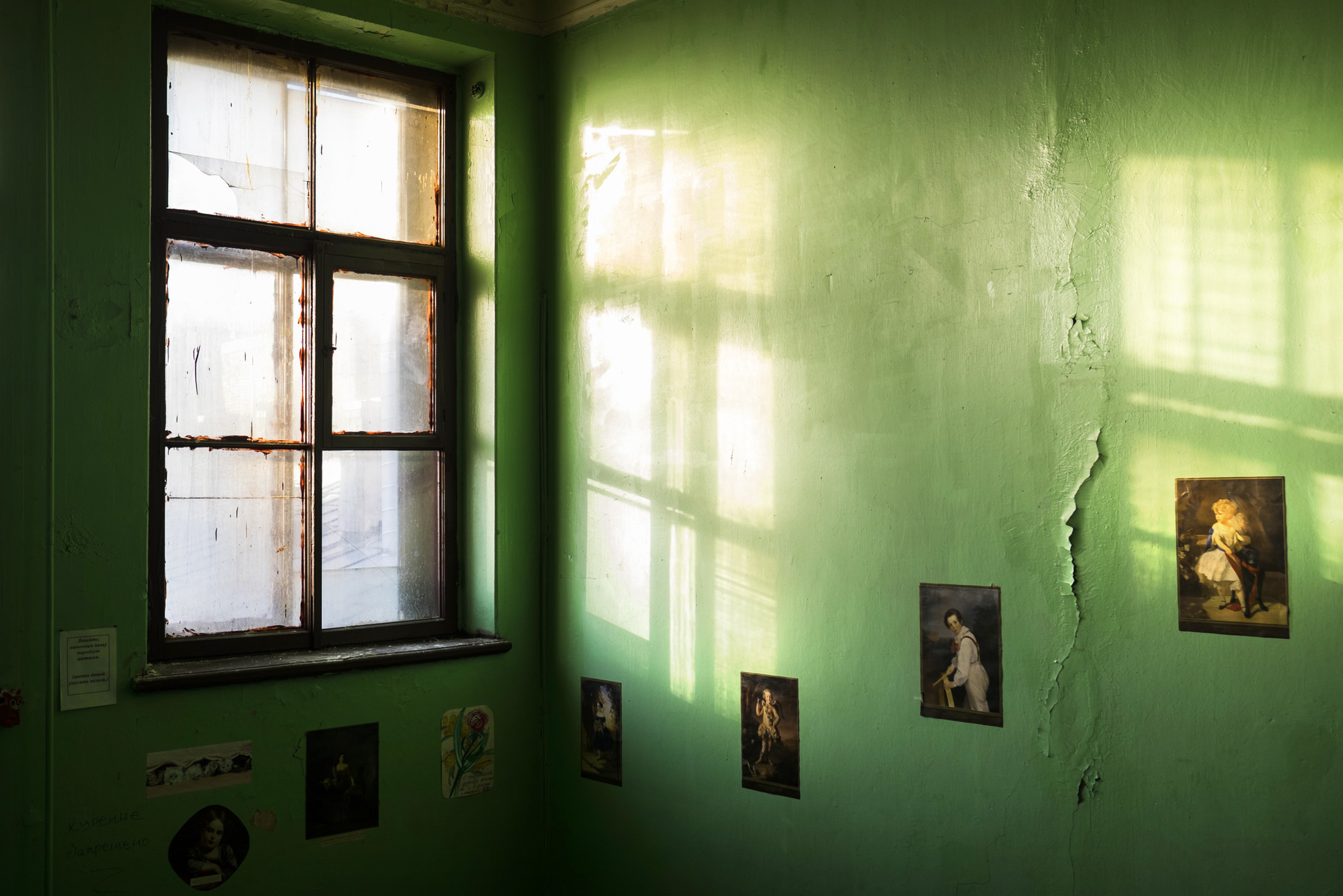 A stairwell inside the building where Lena Mikhaylovskaya's flat is located.