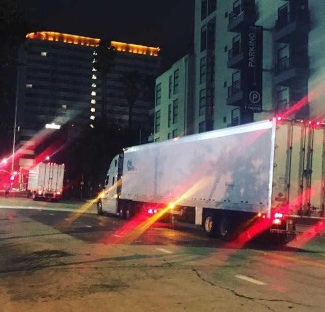 "Trucks carrying the ""Hamilton"" advance set."