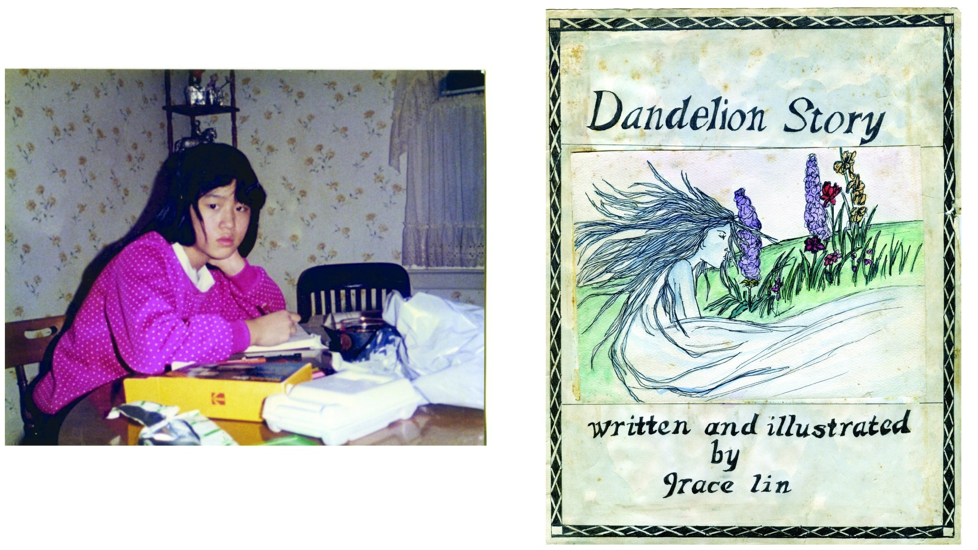 """Grace Lin and the cover of """"Dandelion Story."""""""
