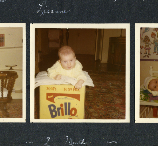 Baby Lisanne Skyler on the Warhol Brillo box sculpture in 1969.