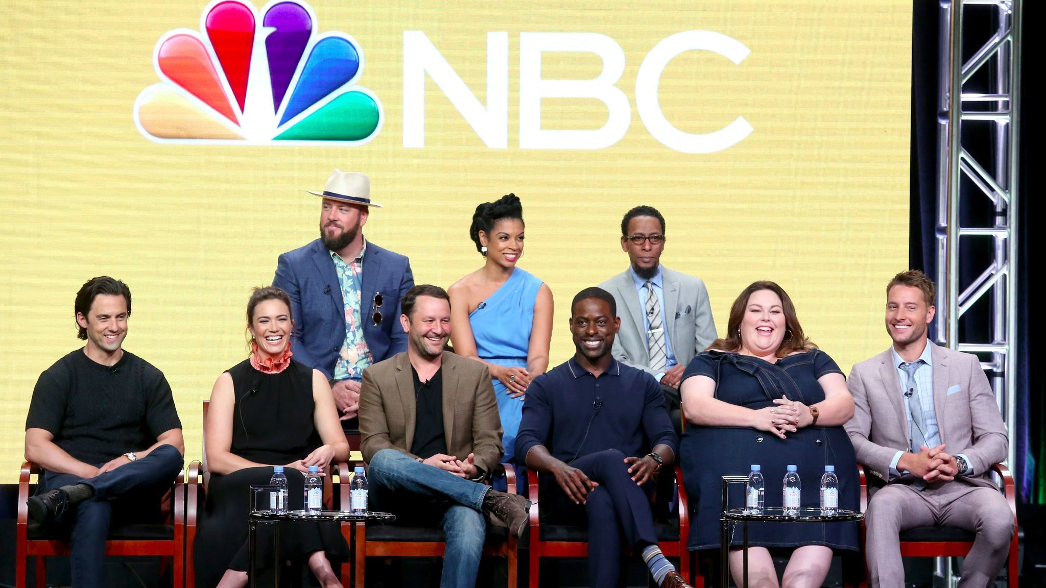 """The cast and creator of """"This Is Us"""" at the Television Critics Assn. press tour in Beverly Hills. (Frederick M. Brown / Getty Images)"""