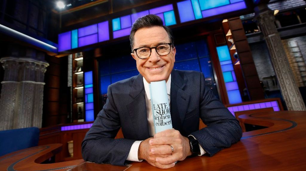 Script in hand: Stephen Colbert is ready to tackle another show.