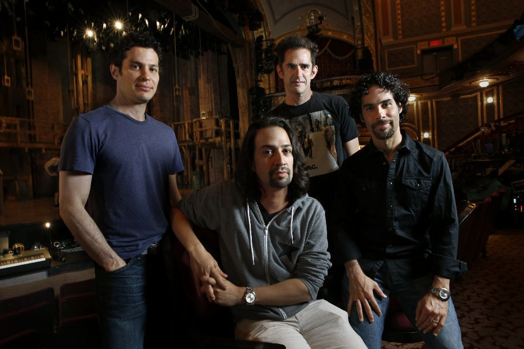 "Lin-Manuel Miranda surrounded by his core ""Hamilton"" creative team, from left: Director Thomas Kail, choreographer Andy Blankenbeuhler and musical director Alex Lacamoire, photographed at the Richard Rodgers Theatre in July 2015."