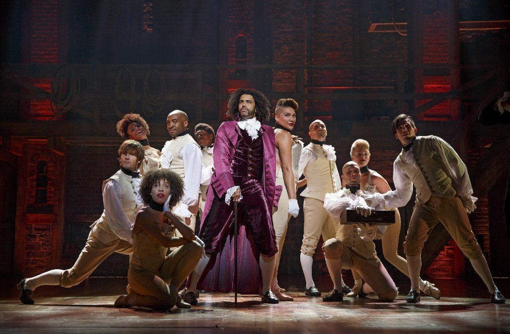"Daveed Diggs as Thomas Jefferson and the ensemble of ""Hamilton"" at the Richard Rodgers."