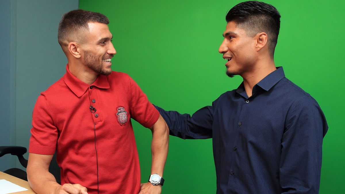Vasyl Lomachenko and Mikey Garcia at ESPN offices in Los Angeles.