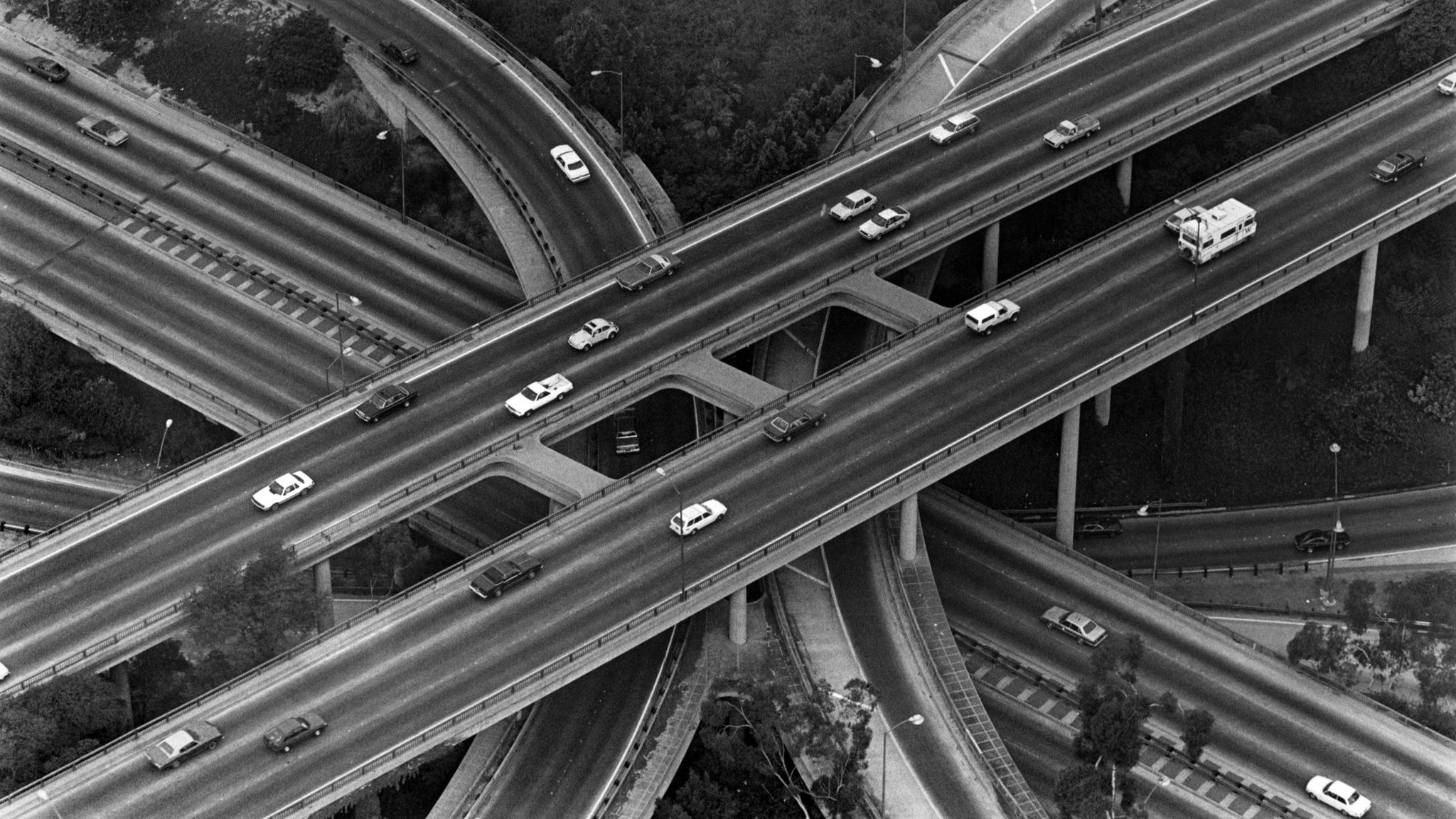 Traffic is light at the downtown Los Angeles four–level freeway interchange one morning during the 1984 Summer Olympics.